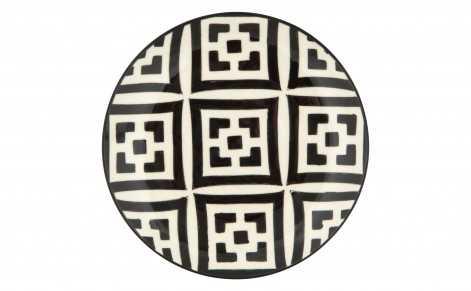 MOROCCAN DESSERT PLATE - BLACK AND WHITE - Jayson Home