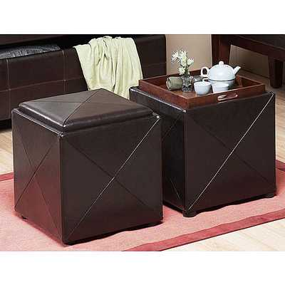Chocolate Synthetic Leather Storage Cube with Wood Serving Tray - Overstock