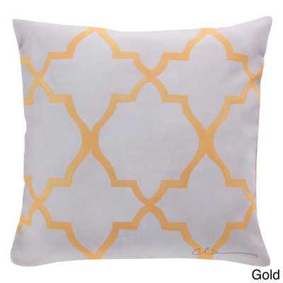 "Outdoor Diamond Lattice Accent Pillow-18""Sq, Gold, polystyrene insert - Overstock"