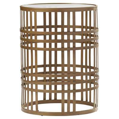 Riley Large Barrel Side Table with Weave and Removable Glass Top - Wayfair