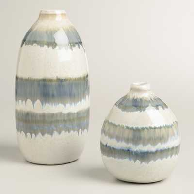 Gray Thai Stripe Ceramic Vases - World Market/Cost Plus
