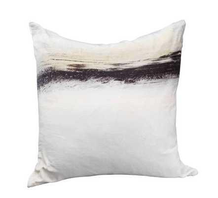 """Fog Velvet Cushion W/ Feather Insert - 25"""" - Domino"""