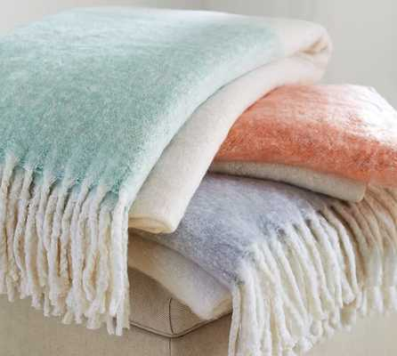 """FAUX MOHAIR COLORBLOCK THROW, 55X80"""", IVORY/CANYON SUNSET - Pottery Barn"""