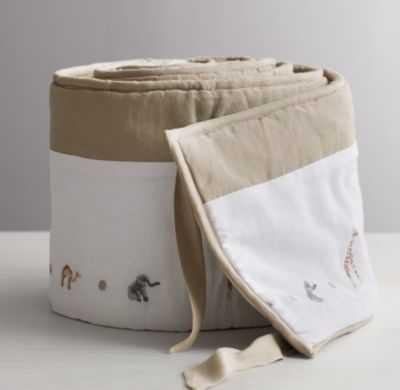 embroidered safari crib bumper - RH Baby & Child