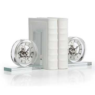 Crystal Clock Bookends - Z Gallerie