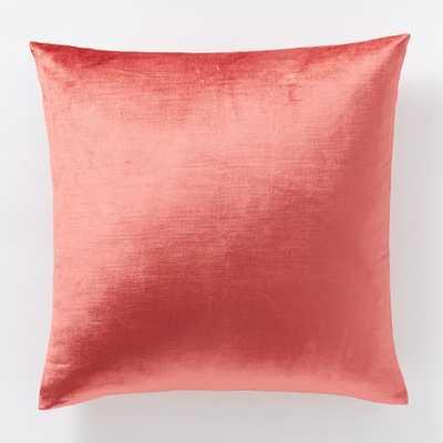 Luster Velvet Pillow Cover - Poppy - 20x20 - Insert Sold Separately - West Elm