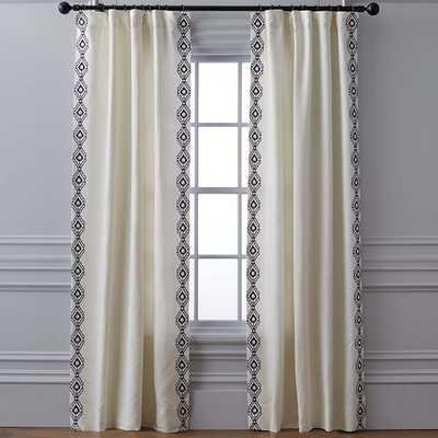 "Sarez Ikat Embroidered Linen Drape, Navy, 124"" - Williams Sonoma Home"