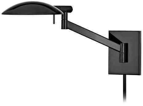 Sonneman Perch Black Brass Plug-In Pharmacy Wall Lamp - Lamps Plus