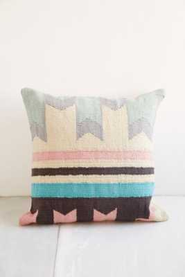 "Plum & Bow Ankara Kilim Pillow - 18"" - Poly fill-Blue - Urban Outfitters"