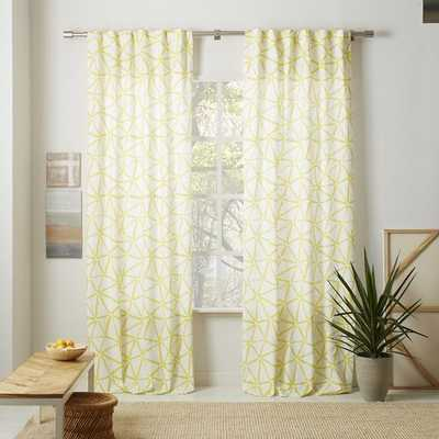 "Linen Cotton Abstract Triangle Curtain - Sun Yellow - 108"" - West Elm"