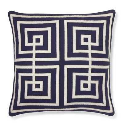 "Interlock Greek Key Pillow Cover, Blue 20"" sq./Insert sold separately - Williams Sonoma"