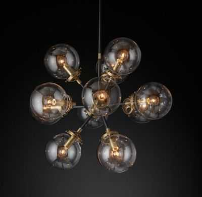 "BISTRO GLOBE CLEAR GLASS BURST CHANDELIER 23"" - BRASS - RH"