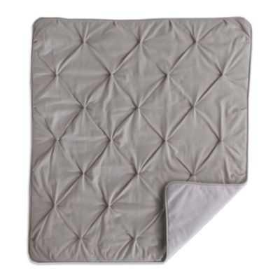 Living Textiles Baby Mix & Match Pintucked Jersey Comforter in Grey/Grey Stripe - Buy Buy Baby