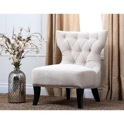 ABBYSON LIVING Sedona Light Cream Microsuede Nailhead Chair - Overstock