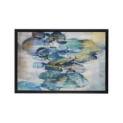 "Turquoise Assemblage Print - 64.5""Wx44.5""H - Matte Black Frame, No Mat - Crate and Barrel"