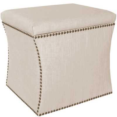 Skyline Furniture Linen Talc Nail Button Storage Ottoman - Overstock