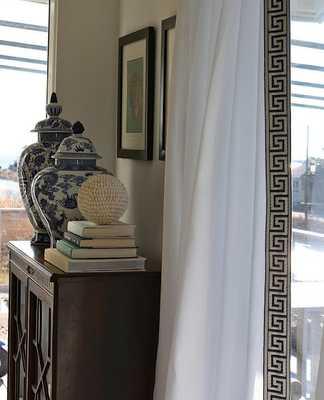 """Pair (two 50W panels) high end designer white linen drapes-  50""""Wx96""""L - Ballard Designs"""