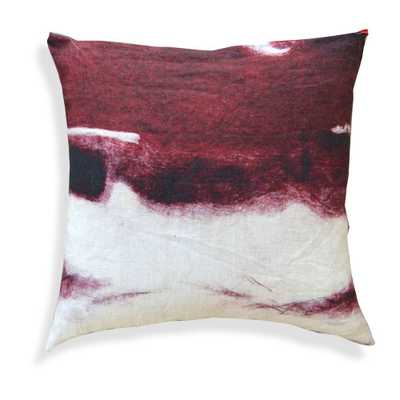 "Abstract Designer Decorative Pillow - 20"" L X 20"" H - Red - Feather down insert - Domino"