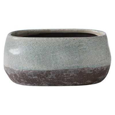 Short Corsica Ceramic Crackle Two Tone Oval Pot - Target