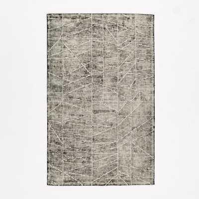 Erased Lines Wool Rug - Iron - West Elm