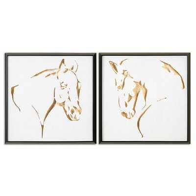 """Gilded Horse Framed Prints - Set of 2- 25 1/2"""" Square X 2""""D- Framed - Ballard Designs"""
