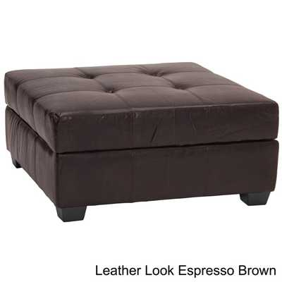 Vanderbilt Tufted Panel Stitched Padded Hinged 36-inch Square Storage Ottoman Bench - Overstock