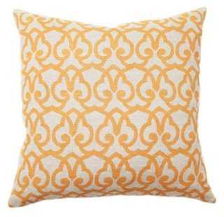 Trellis 22x22 Cotton Pillow, Gold-down insert - One Kings Lane