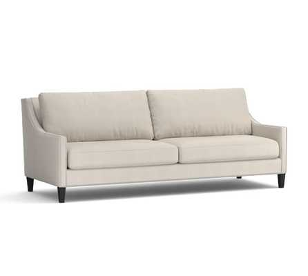 Pasadena Upholstered Sofa-Performance everydaysuede-Stone - Pottery Barn