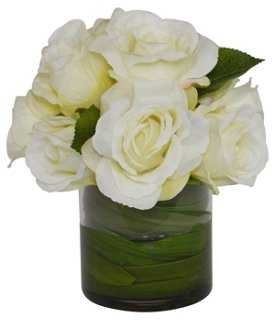 Roses w/ Orchid Foliage in Vase, Faux - One Kings Lane