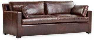 "Pendelton 84"" Leather Sofa, Cocoa - One Kings Lane"