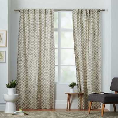 "Cotton Canvas Stamped Dots Curtain- 84""l x 48""w. - West Elm"