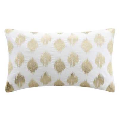 Nadia Embroidered Lumbar Throw Pillow - Gold, 12x18, With Insert - Wayfair