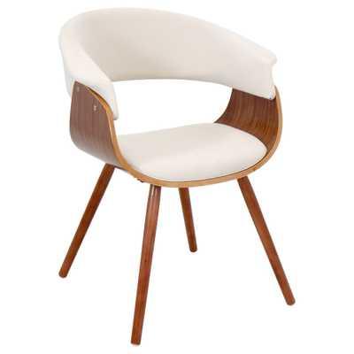 Vintage Mid-century Accent Chair - Walnut/Cream - Overstock