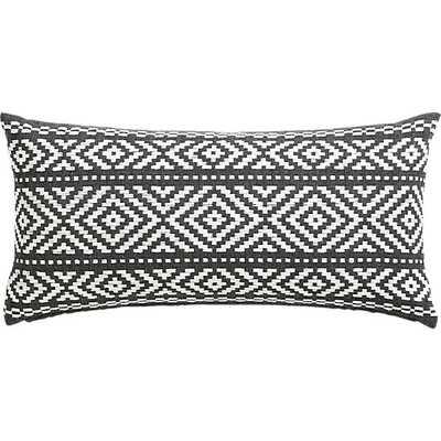 Woven Isle Pillow - 23x11 - White/Grey - Feather Insert - CB2