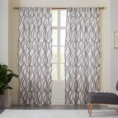 "Cotton Canvas Scribble Lattice Curtain - Feather Gray - 84"" - West Elm"