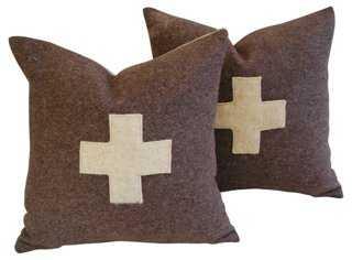 Swiss Wool Appliqué Cross Pillows Pair - One Kings Lane