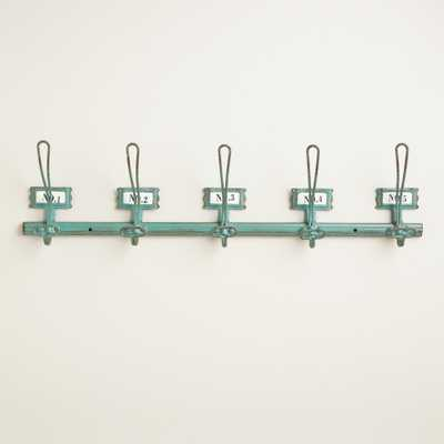 Aqua Metal Industrial 5-Hook Wall Storage - World Market/Cost Plus