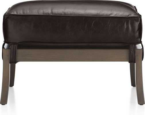Blake Carbon Grey Ottoman with Leather Cushion - Crate and Barrel