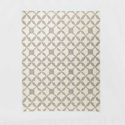 Tile Wool Kilim Rug - Platinum - West Elm