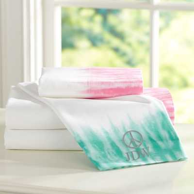 Tie Dye Cuff Sheet Set - Twin, Pool - Pottery Barn Teen