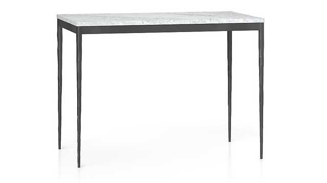 Marble Top/ Hammered Base High Dining Table - Crate and Barrel