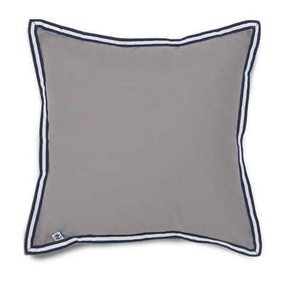 "Oxford Plaid Grosgrain Throw Pillow-14"", Gray - Cotton insert - Wayfair"