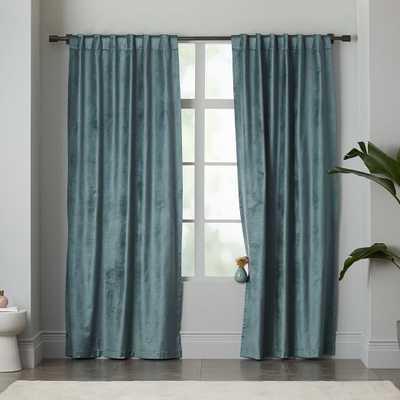 "Luster Velvet Curtain - Blue Stone - 96""L x 96""W - West Elm"