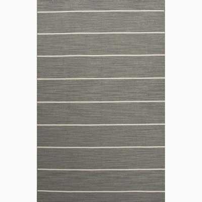 Handmade Striped Pattern Gray/ Ivory Wool Area Rug - Overstock