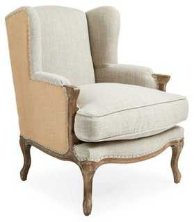 Marie Wingback Chair, Rice - One Kings Lane
