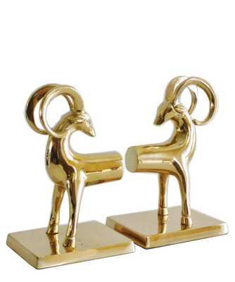 Pair of Brass Gazelle Bookends - High Street Market