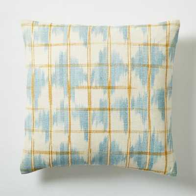 "Ikat Grid Pillow Cover-16""-Light Pool-without insert - West Elm"