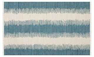 Uma Flat-Weave Rug, Teal/Ivory - 6' x 9' - One Kings Lane
