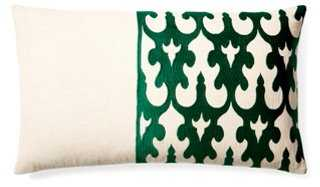 Bella Embroidered Pillow - Green - 14x24 - feather-and-down insert - One Kings Lane