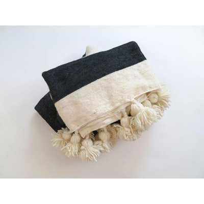 Black & White Pom Pom Moroccan Blanket - Chairish